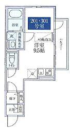 桜テラス哲学堂 3階ワンルームの間取り