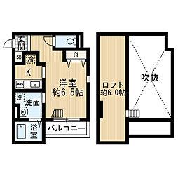 南海高野線 萩原天神駅 徒歩2分の賃貸アパート 1階1Kの間取り