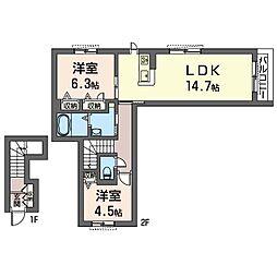 茅ヶ崎市下町屋2丁目シャーメゾン(仮)[202号室]の間取り