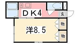 兵庫県姫路市東今宿1丁目の賃貸アパートの間取り