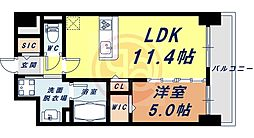 Osaka Metro四つ橋線 花園町駅 徒歩13分の賃貸マンション 3階1LDKの間取り