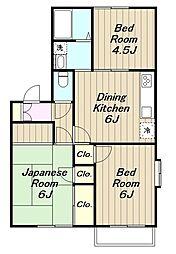 神奈川県厚木市岡田4丁目の賃貸アパートの間取り