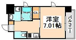 リブネスコート伊丹 3階1Kの間取り