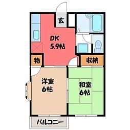 栃木県宇都宮市御幸ケ原町の賃貸アパートの間取り