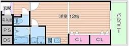 Osaka Metro谷町線 谷町九丁目駅 徒歩3分の賃貸マンション 5階ワンルームの間取り