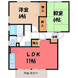 栃木県宇都宮市五代1丁目の賃貸アパートの間取り