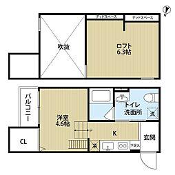 阪神なんば線 千鳥橋駅 徒歩12分の賃貸アパート 1階1Kの間取り