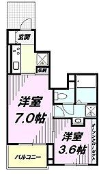 多摩都市モノレール 桜街道駅 徒歩3分の賃貸アパート 1階1Kの間取り
