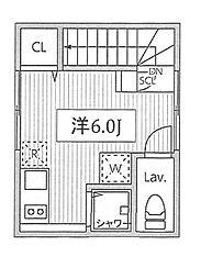 PRESI桜新町 2階ワンルームの間取り