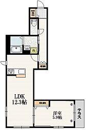 東京メトロ南北線 志茂駅 徒歩10分の賃貸マンション 1階1LDKの間取り