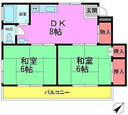 ツカサコーポ[1階]の間取り