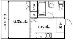 ハイツ松島[303号室]の間取り
