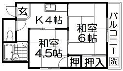 Kプラザ守口[4階]の間取り