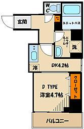 東急田園都市線 溝の口駅 徒歩5分の賃貸マンション 2階1DKの間取り
