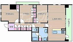 阪急千里線 豊津駅 徒歩5分の賃貸マンション 6階3LDKの間取り