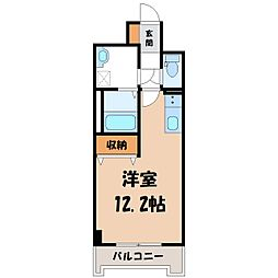 JR東北本線 宇都宮駅 徒歩6分の賃貸マンション 1階1Kの間取り
