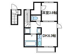 神奈川県海老名市大谷南4丁目の賃貸アパートの間取り