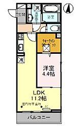 JR武蔵野線 越谷レイクタウン駅 徒歩14分の賃貸アパート 2階1LDKの間取り