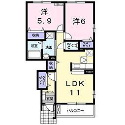 愛知県田原市片西2丁目の賃貸アパートの間取り