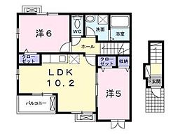東武東上線 川越駅 バス26分 上中下車 徒歩6分の賃貸アパート 2階2LDKの間取り