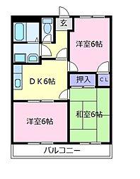 大阪府松原市三宅中1丁目の賃貸マンションの間取り