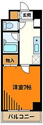 JR中央線 八王子駅 徒歩10分の賃貸マンション 2階1Kの間取り
