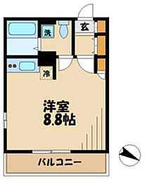 JR南武線 久地駅 徒歩9分の賃貸アパート 2階ワンルームの間取り