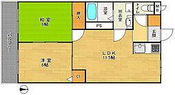 スターマンション 1階2LDKの間取り