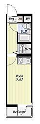 NEWRISE-2 4階ワンルームの間取り