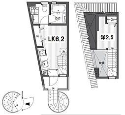 東急池上線 石川台駅 徒歩3分の賃貸テラスハウス 2階1LKの間取り