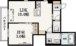 JR埼京線 十条駅 徒歩3分の賃貸マンション 2階1LDKの間取り