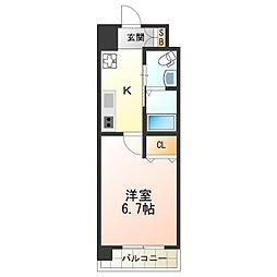 Marks西田辺 3階1Kの間取り
