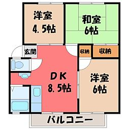 栃木県宇都宮市平松本町の賃貸アパートの間取り