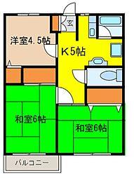 エコーハイツA[101号室]の間取り