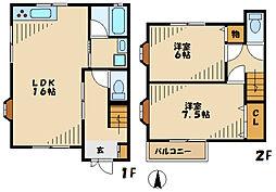サンハイツI 2階2LDKの間取り