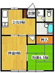 埼玉県草加市瀬崎1の賃貸アパートの間取り