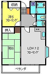 神奈川県横浜市港南区東永谷3丁目の賃貸アパートの間取り