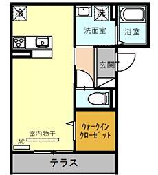 (仮)D-room戸田市新曽 1階ワンルームの間取り