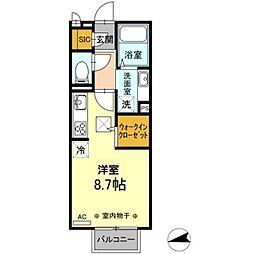 JR八高線 北八王子駅 徒歩2分の賃貸アパート 2階ワンルームの間取り