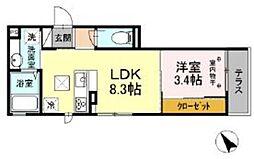 D-room高松町 3階1DKの間取り