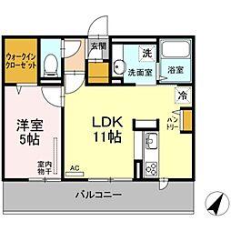 クラヴィーア朝倉街道駅前 2階1LDKの間取り