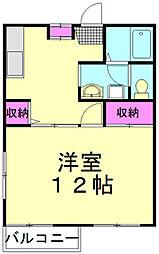 JR武蔵野線 新座駅 徒歩11分の賃貸アパート 2階1Kの間取り