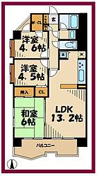 ドメス稲田堤 4階3LDKの間取り
