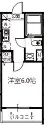 メルディア中野島 2階1Kの間取り