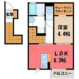 JR東北本線 宇都宮駅 バス40分 壁梨下車 徒歩8分の賃貸アパート 2階1LDKの間取り