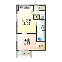 JR東西線 加島駅 徒歩8分の賃貸アパート 1階1LDKの間取り