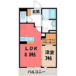 栃木県下都賀郡壬生町至宝2の賃貸アパートの間取り
