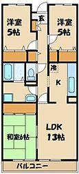 京王線 高幡不動駅 徒歩15分の賃貸マンション 3階3LDKの間取り