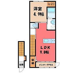 小山市神鳥谷アパート(仮) 2階1LDKの間取り