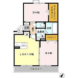 愛知県岡崎市赤渋町字西河原の賃貸アパートの間取り
